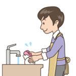 洗い物をする男性の画像