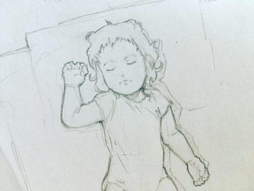 寝ている娘の画像